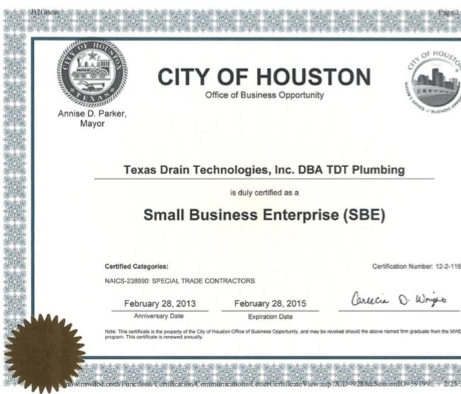 TDT Earns Certification - TDT Plumbing