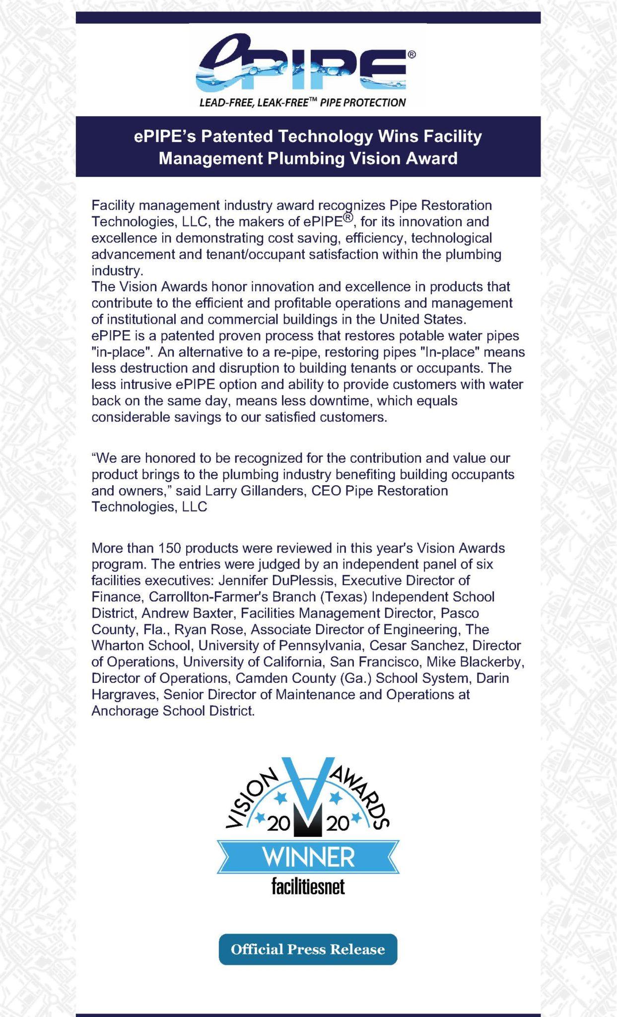 ePIPE Vision Award Press Release